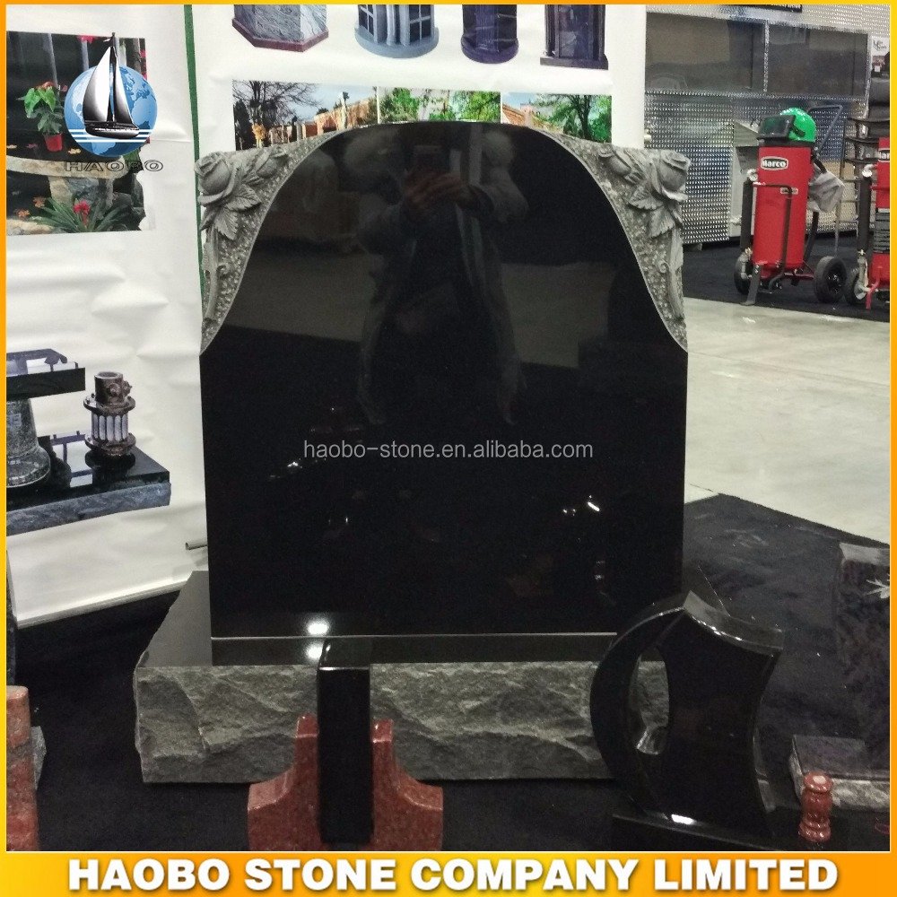Haobo Black Granite Upright Monuments And Grave Markers