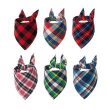 Wholesale Pet Dog Christmas Plaid Printed Bandanas Soft Cotton Triangular Dog Bandana