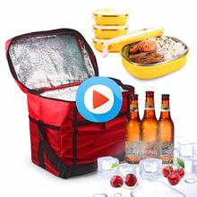 New Fashion Portable Insulated polyster lunch Bag Thermal Food Picnic Lunch Bags for Women kids Men Cooler Lunch Box Bag Tote
