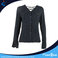 Made in China cheap simple design feminine black blouse