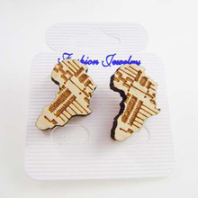 Factory Direct Stock Cheap Hiphop Jewelry Wood Africa Map Stud Earrings