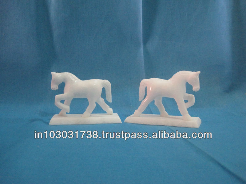 Onyx Marble Horse Sculpture, Standing marble horse sculpture Onyx Bookends
