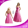 Hot pink beaded ball gown fashion mature women evening dresses for lady
