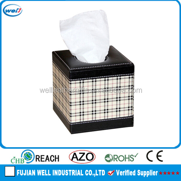square faux leather sanitary napkin storage box