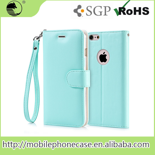 Mint Green PU leather Case Hand Chain Card Slot Case Mobile Phone Cases For iPhone 6s