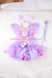 cheap purple skirt dresses and wings set with flower decoration for party favor