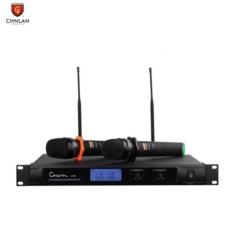 Professional 100meter 2 channel UHF wireless handheld microphone for conference U588