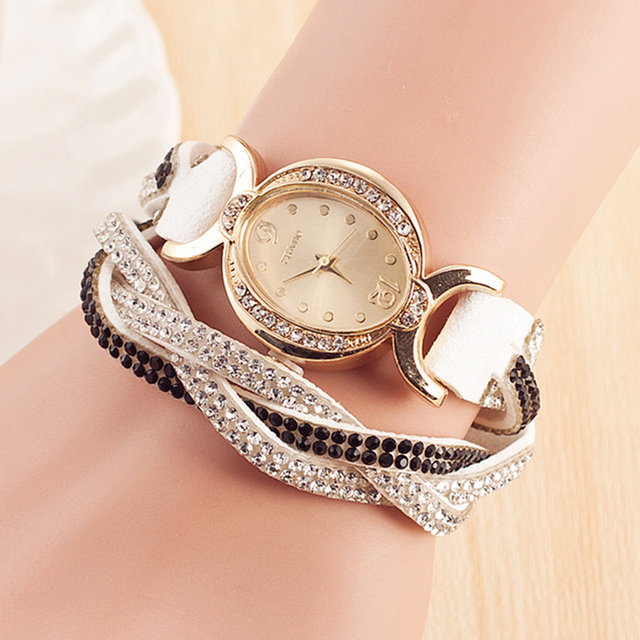 Hot Sale Popular Gold Jewelry Quartz Watch Women Dress Watches Relogio Feminino Fashion Rhinestone Ellipse Bracelet Watch