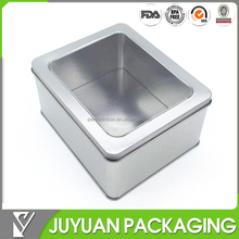 Plain natural silver colored varnished watch tin box wholesale