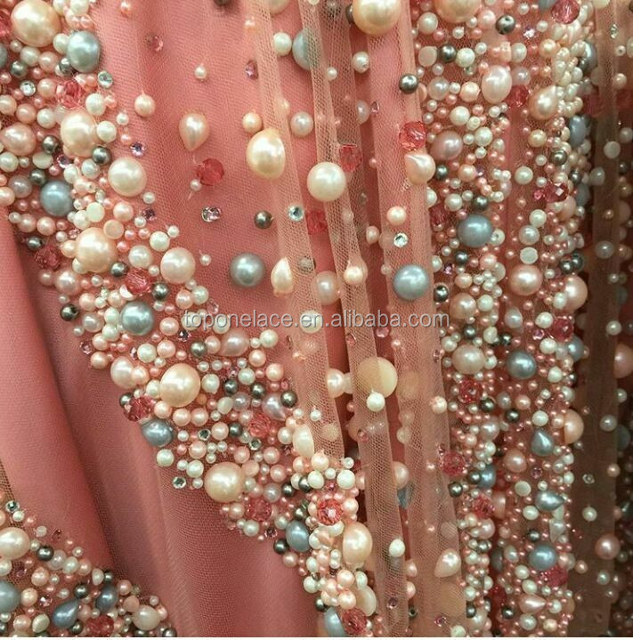 Hand Made Heavy Beaded And All Over Pearl Lace Fabric With