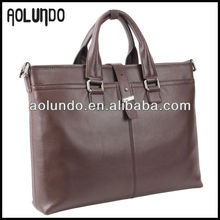 AOLUNDO top grain cowhide briefcase buckle for men genuine leather hand bag
