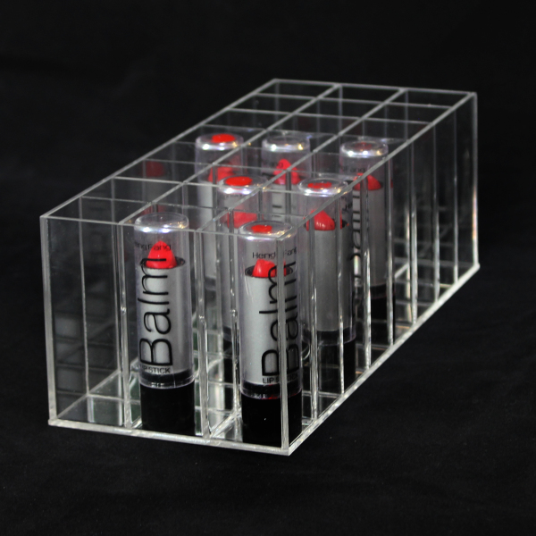 Factory Wholesale Small Acrylic 24 Lipsticks Lip Balm Container Lip Gross Holder Display for Mac Lipsticks