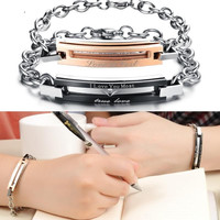 Brand Romantic Gift For Couple, Allergy Nickel Free, Steel Bracelets & Bangles, Black & Gold Crystal Bracelet TRUE LOVE GS703