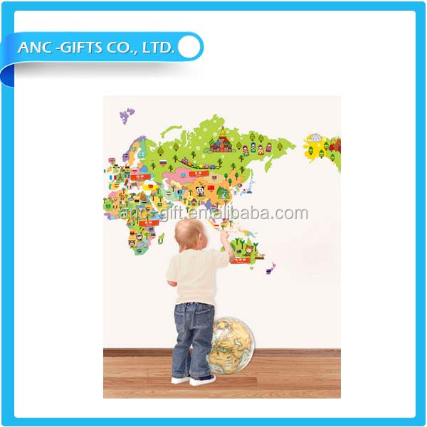 removable self adhesive wall sticker colored world map for self adhesive and removable wall stickers muraux buy