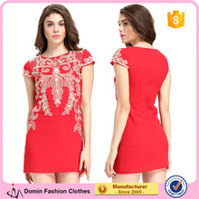 2017 Embroidered Red Cloth Woman Model Midi Dress