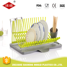 Gold supplier custom color yellow green kitchen corner modern plastic dish rack
