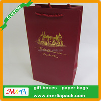 2 WINE BOTTLE TOTE GIFT BAG CHRISTMAS PAPER HANDLE CARD HOLIDAY BAGS