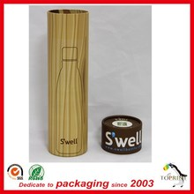 Color print decorative round cardboard wine bottle tube with metal lid and basis