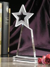 Optical Glass Fashion Crystal Trophy With Star For Excellence Honor