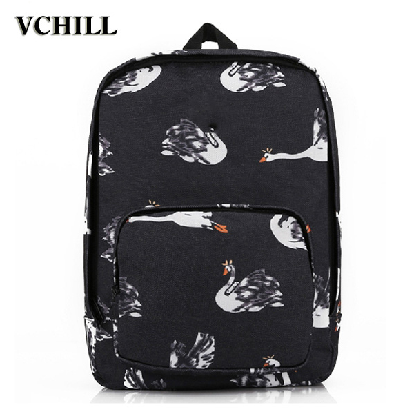 2016 Cheap Fashion Backpack White Swan Printing Color Bags Travel Sports Bags