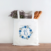 Wholesale reusable recyclable blue foral cotton trolley shopping bag