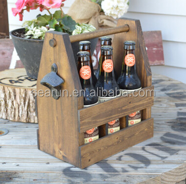 6 pack beer carrier wooden beer caddy/crate with bottle opener