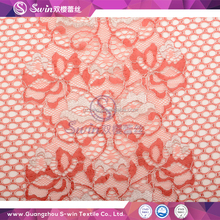 Orange white voile vietnam fabric Jacquard floral nylon Silver metallic rayon knitting lace for design your own clothes