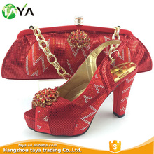 wholesale italian gold shoes and bags matching women high heel shoes