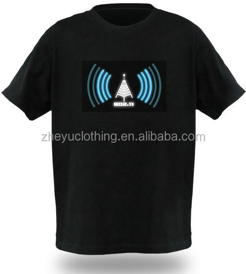 Factory custom unisex lighting t shirt with el equalizer flashing t-shirts