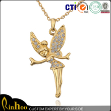Delicate Popular Design Top Sale Yiwu Jewelry, Rhinestone Jewelry Angel Wing Necklace