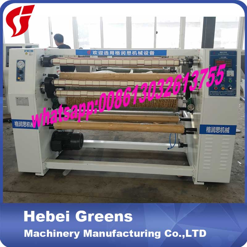 Slitting And Rewinding Machine For Adhesive Tape And Paper Jumbo Roll