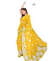 Designer Yellow Party Printed Saree Collection 2016
