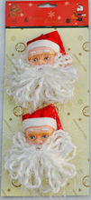 promotional holiday gift decoration,Christmas smile face santa claus head ornament,