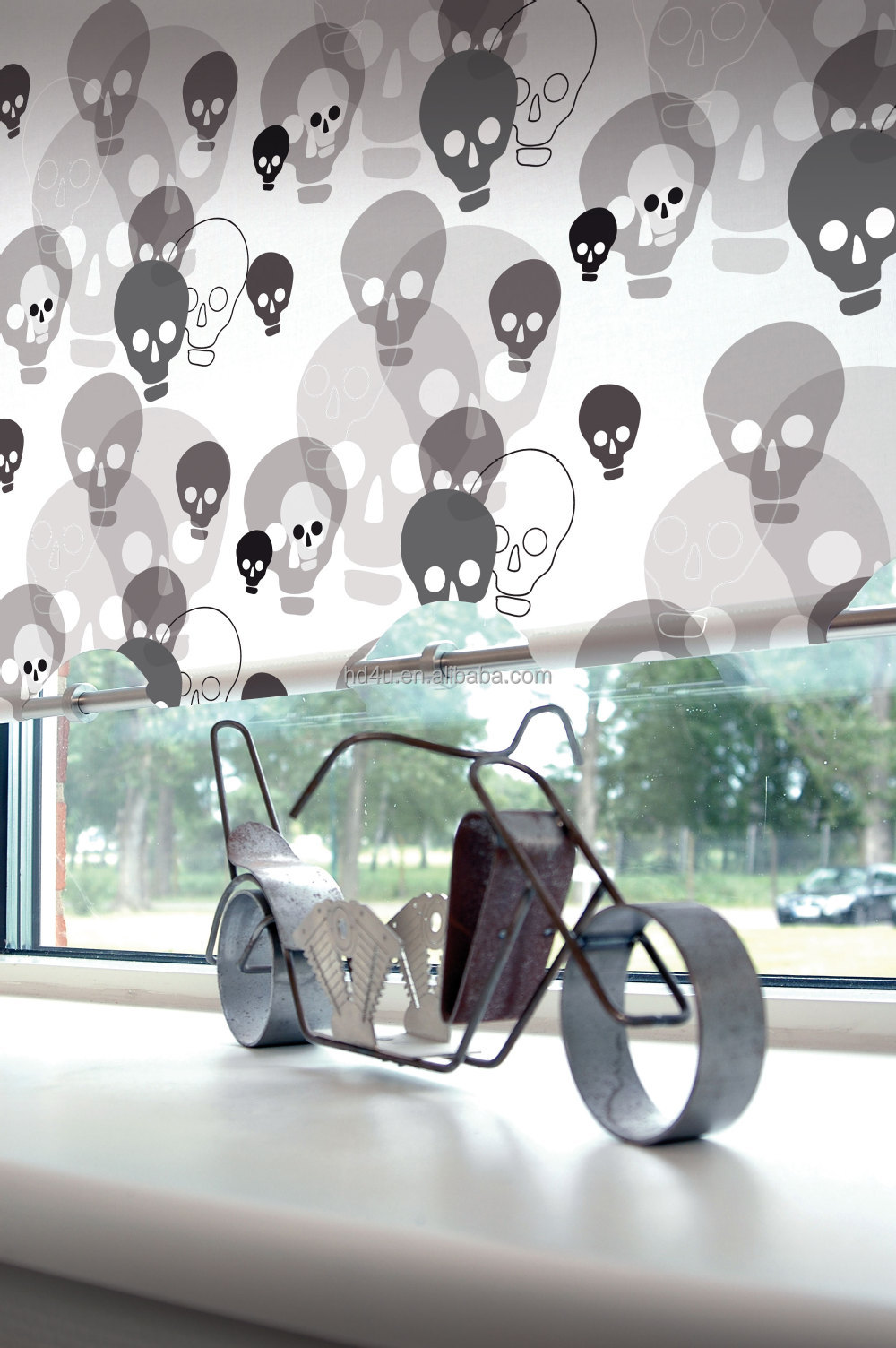 Printed/Digital print rock style skull design roller blind curtain blind stranger