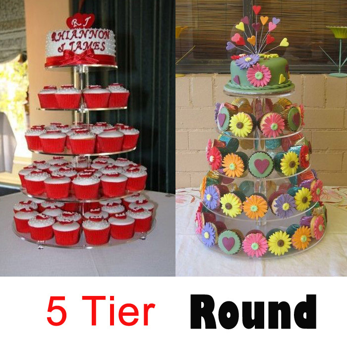 5 tier high quality transparent round Acrylic fancy cupcake stand