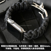 Survival Kit Parachute Cord bracelet with metal buckle for smart watch