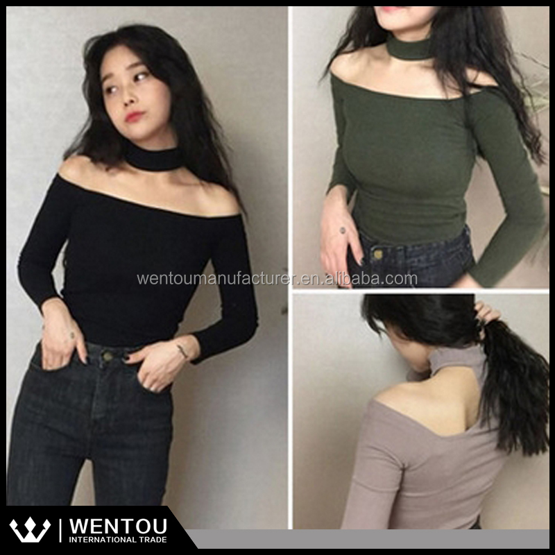 Wholesale Ladies Sexy Bardot Off-shoulder Choker Top