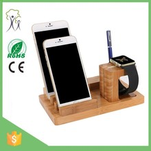 High quality 3 in 1 multi USB bamboo mobile phone charging dock stand watch charging dock