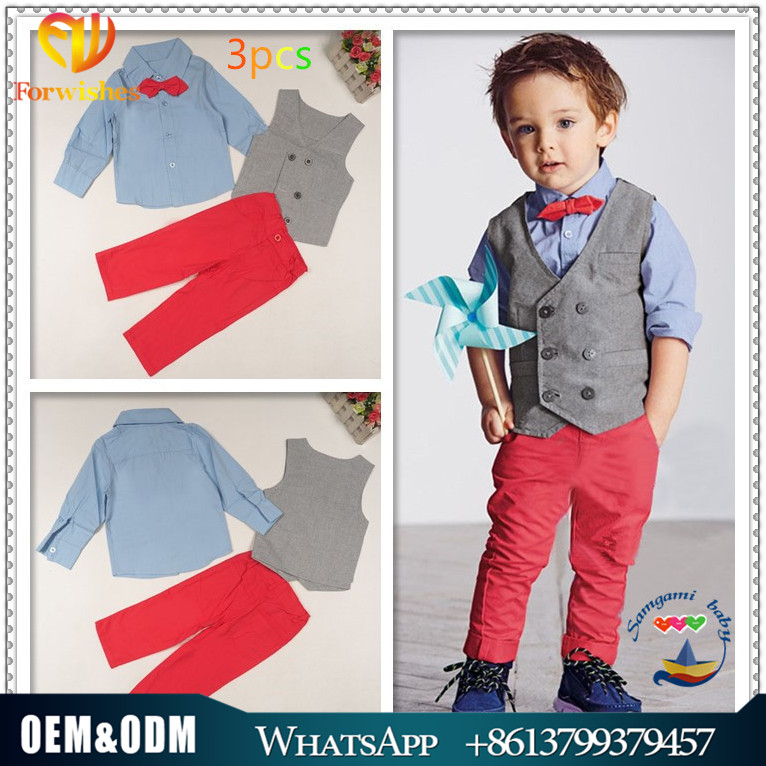 2017 2-7years old children clothing sets spring autumn baby boys 3pcs clothes shirts vest pants european style kids clothing
