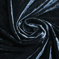 Warp Knitting Polyester Lycra Spandex Black Color Crushed Ice Velvet Fabric