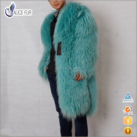 China Excellent Supplier OEM Service Fashion Men Long Style Curly Mongolian Lamb Fur Coat / Overcoat For Sale