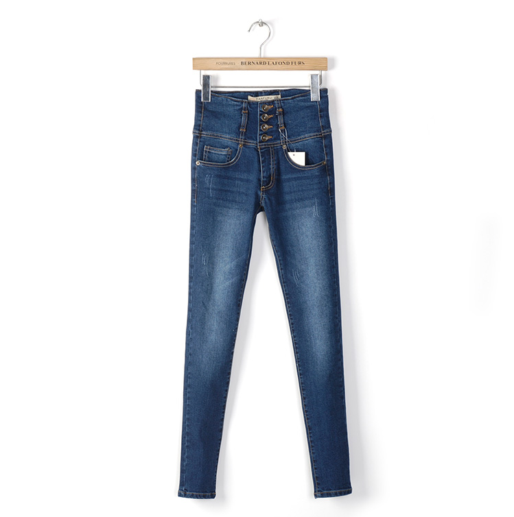 mid blue high waisted best stretch women skinny jeans by high quality denim with spraying and whiskers details