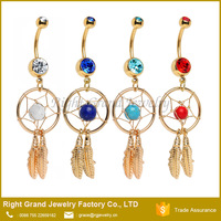 Fashion 14K Gold Plated Press Fit Double Crystal Dream Catcher Belly Navel Ring Body Piercing