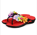Women's Beach Wedges Platform Massage Thong Slippers Big Flower Decor Flip Flops Sandals