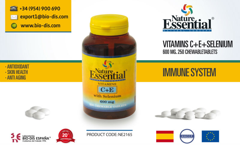 Vitamin C+E with Selenium. 600 mg. 250 Chewable Tablets (Kids)- Vitamin supplement