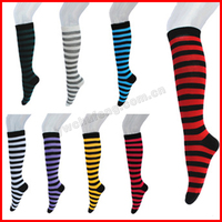 Free Shipping! Women Girl Stripe Stripy Striped Thigh High Stockings Long Socks