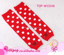 Wholesale red white dots leg warmer socks christmas baby leg warmers