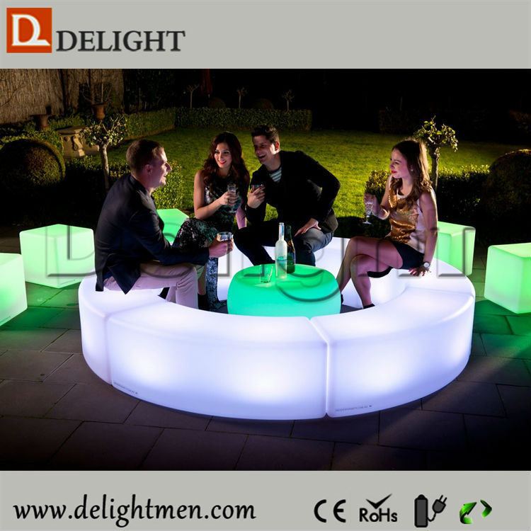 Outdoor Waterproof Rechargeable Battery Powered 16 Colors Round LED Coffee Table