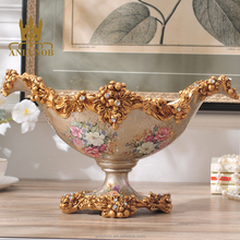 High Quality Exquisite Antique flower design Fruit Plate Serving Tray With Stand for home decor