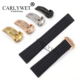 CARLYWET 22*18mm Newest Black Waterproof Silicone Rubber Replacement Wrist Watch Band Strap